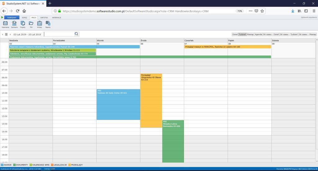 CRM - Kalendarz tygodniowy