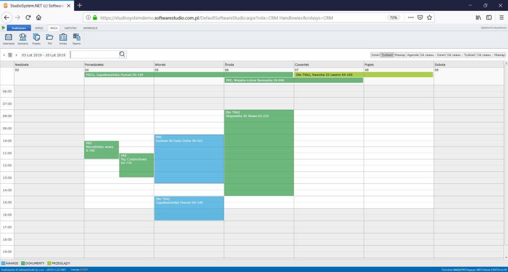 Program klasy CRM - kalendarz wizyt